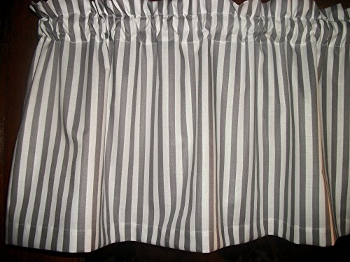 (Gray Grey White Striped Stripes kitchen bedroom bathroom fabric curtain Valance)