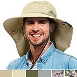 Tirrinia Mens Wide Brim Sun Hat with Neck Flap Fishing Safari Cap for Outdoor Hiking Camping Gardening Lawn Field Work, Tan