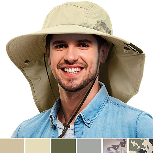 Tirrinia Mens Wide Brim Sun Hat with Neck Flap Fishing Safari Cap for Outdoor Hiking Camping Gardening Lawn Field Work, Tan