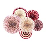 NICROLANDEE Rose Gold Paper Fans Maroon Foil Hanging Party Fans Dusty Rose Glitter Photo Backdrop for Birthday Wedding Baby Shower Bridal Shower Valentine's Day Girls Party Decoration 6 Pcs/Set
