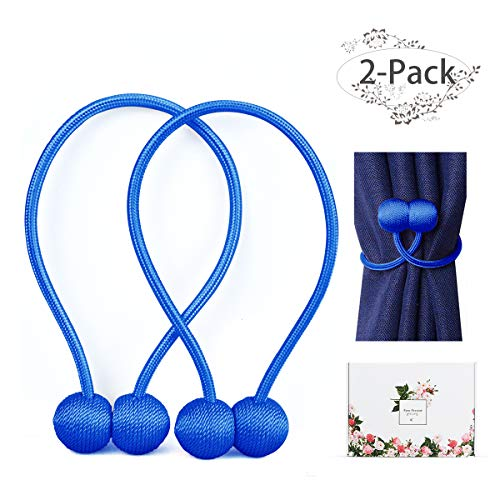 ANNGEOK Magnetic Curtain Tiebacks,The Most Easy Strong Magnet Curtain Holdbacks,Simple Modern Decorative Curtain Tie Backs/Holder for Home Curtains,Blue/2 Pieces