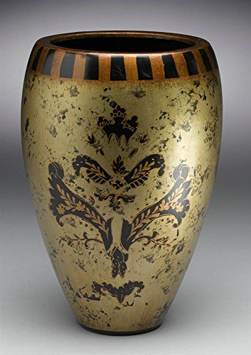 - AA Importing Hand-Painted Asian Inspired Porcelain Vase in Black and Gold