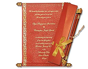 indian scroll wedding invitations 25 pcs red amazon in home