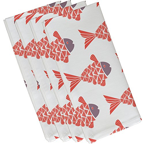 E by design Fish Tales, Animal Print Napkin, 19 x 19'', Coral by E by design