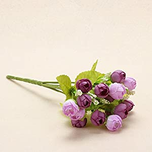 Colorful Silk Flowers Artificial Flower 15 Heads Mini Rose Home Decor For Wedding Small Roses Bouquet Decoration D 42