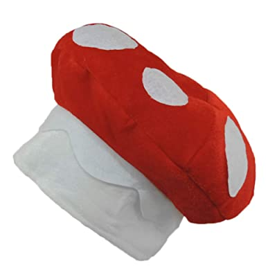 Red & White Spotted Mushroom Plush Novelty Hat: Toys & Games