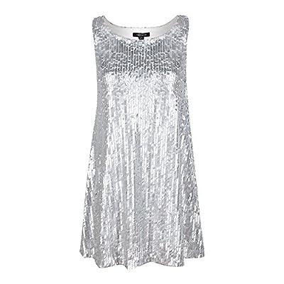 hodoyi Women Slashneck Sleeveless A-line Loose Sequin Mini Dress