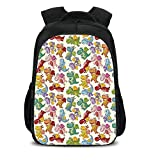 15.7'' School Backpack,Children,Baby Loving Cute Dangerous Happy Dinasours in Rainbow Colored Nursery Kids Print,Multicolor,for Teenagers Girls Boys