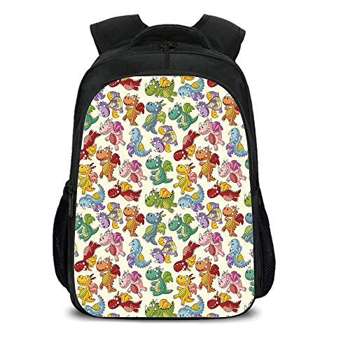 15.7'' School Backpack,Children,Baby Loving Cute Dangerous Happy Dinasours in Rainbow Colored Nursery Kids Print,Multicolor,for Teenagers Girls Boys by iPrint