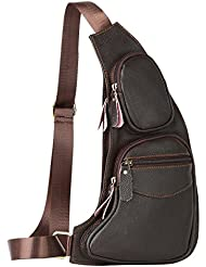 Leathario Mens Leather Retro Chest Sling Crossbody Shoulder Bag Multipurpose Backpack