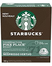 Starbucks by Nespresso Pike Place Roast Coffee Pods, Medium Roast, Nespresso Vertuo Line Compatible Capsules, 4 X 8 Coffee Pods, 32 Count