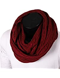 FORBUSITE Stylish Men Cable Soft Knit Infinity Scarf for Winter Burgundy