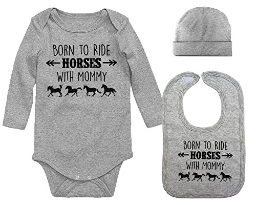 Born to Ride Horses with Mommy Long Sleeve Layette Set for Baby Boys and Girls (Heather Gray, 6 Months)