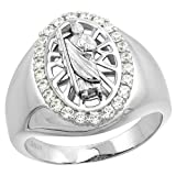 Sterling Silver CZ Saint Jude Ring for Men Oval 23/32 inch size 10