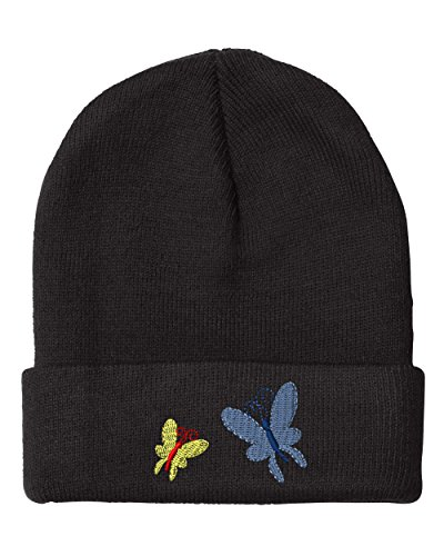 Butterflies Embroidery Embroidered Beanie Skully Hat Cap Black (Embroidered Butterfly Beanie)