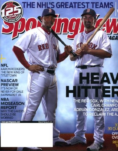 Sporting News February 14 2011 Has 2 covers - outside ad cover has Steven Wallace/Nascar & inside cover has Carl Crawford & Adrian Gonzalez/Boston Red Sox, Nascar Preview, Rebuilding New York Mets, NBA Report, Aaron Rodgers/Green Bay Packers (Red Sox Nascar)