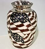 Cremation Urn - Funeral Urn for Human Ashes - Large Adult Size Burial Urn - 100% Brass - Silver American Flag Patriotic Hero