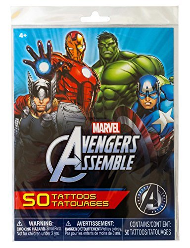 Super Hero Tattoos Party Bundle -- 50 Marvel Avengers Super Hero Temporary Tattoos with Avengers Stickers (Party -