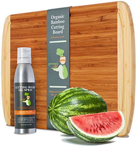 Board Wooden (Premium Gift Set - 18 x 12 XL Bamboo Chopping Board and Cutting Board Oil - Wooden Cheese Board WITH CARE OIL FOR PROTECTING AND BEAUTIFYING YOUR INVESTMENT - Fancy Housewarming or Wedding Gift)