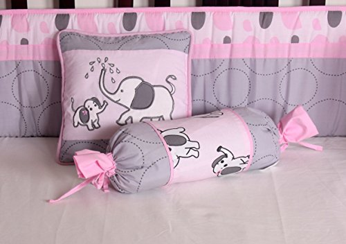 Boutique Pink Gray Elephant 13pcs Crib Bedding Sets Buy Online In Uae Baby