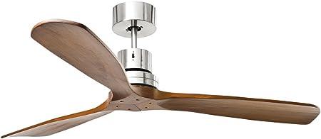 Ventilatore da soffitto senza luce PERENZ 7142CR Diametro 130 cm Corpo in metallo finitura cromo spazzolato 3 pale in legno Telecomando a infrarossi