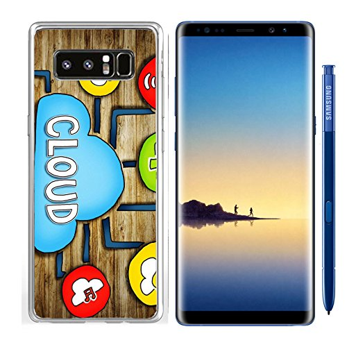 Luxlady Samsung Galaxy Note8 Clear case Soft TPU Rubber Silicone IMAGE ID: 34402076 Aerial View of People and Cloud Computing Concepts by Luxlady