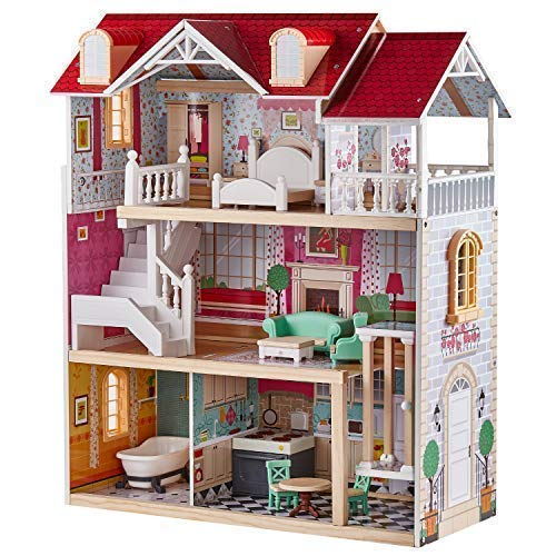 TOP BRIGHT Wooden Dollhouse with Elevator Dream Doll House for Little Girls 5 Year Olds (Giant Doll House)