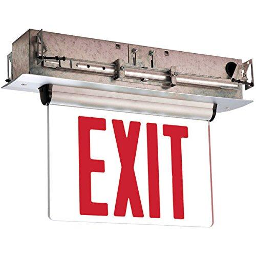 Single Face - LED Exit Sign - Edge-Lit - Red Letters - 120/277 Volt - AC Only - Brushed Aluminum - Exitronix S902-LB-SR-RC-BA