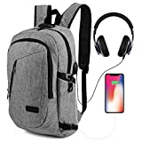 ONSON Anti Theft Laptop Backpack, Business Water Resistant Backpack Travel Bag with USB Charging Port & Headphone interface for Men&Women College Student,Fits 15.6 Inch Laptop & Notebook - Gray