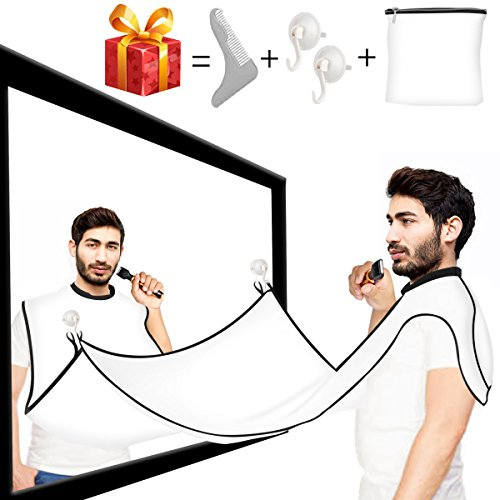 Beard Bib, VEIPAO Beard Trimming Catcher and Beard Apron Professional Trim Your Beard,Hairs Without Mess Keep Yourself and Your Sink Neat Bonus Comb and Brush Perfect Gift for Men