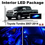 Ameritree Blue LED Lights Interior Package + Blue LED License Plate Kit for Toyota Tundra 2007-2016 (10 Pieces)