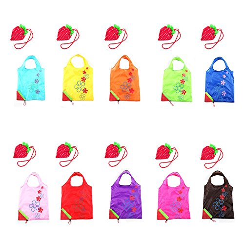 Ocharzy Assorted Colors Strawberry Shopping Bag Foldable Recycling Use Eco Bags 10 Pcs