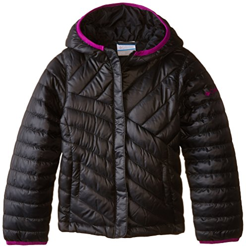 Columbia Big Girls' Powder Lite Puffer Jacket, Black/Bright Plum, Small