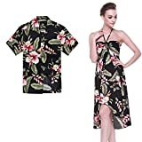 b76cf90ac465 1, Couple Matching Hawaiian Luau Party Outfit Set Shirt Dress in Black  Rafelsia Men