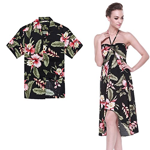 Button Party Dress In Black (Hawaii Hangover Couple Matching Hawaiian Luau Party Outfit Set Shirt Dress In Black Rafelsia Men XL Women M)