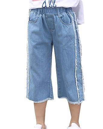 negozio del Regno Unito vasta gamma bene fuori x GladiolusA Jeans Ragazza Vita Alta Capri Pantaloni Larghi ...