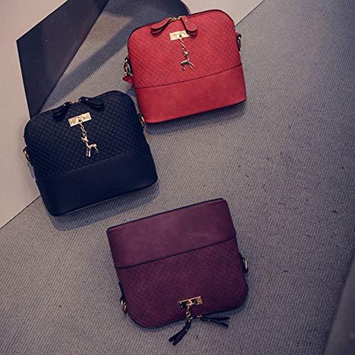 Deer Wine Shell Bag Embossed LBOJA Shoulder Bag Women Shape Purple Red Crossbody Dark Cute Mini Messenger TB77x1