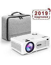 QKK Beamer [Mit Tasche] Projektor, Mini Beamer, Videobeamer unterstützt 1080P Full HD, Verbindung mit HDMI VGA SD USB AV Geräte, Heimkino Projektor, Weiß.