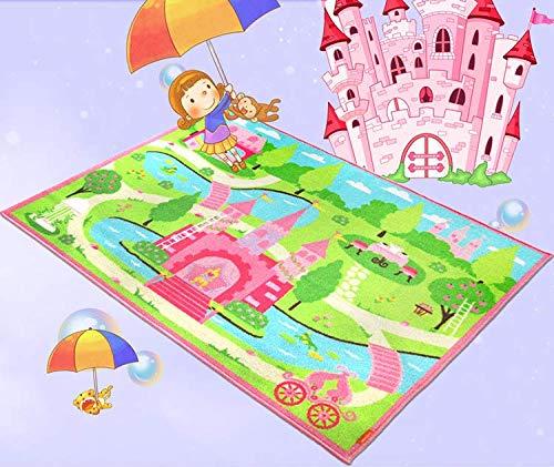 HUAHOO Pink Girls Bedroom Rugs Cartoon Castle Kids Rug Bedroom Floor Rugs Nylon Cartoon Kids Living Room Carpet (80x120cm(31.5''x47''))