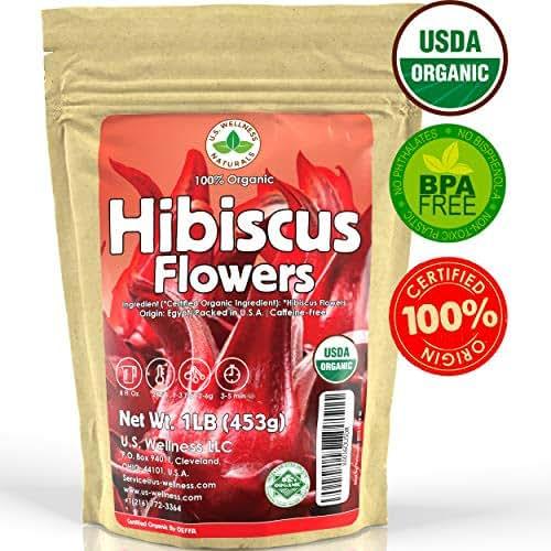 Hibiscus Tea 1LB (16Oz) 100% CERTIFIED Organic Hibiscus Flowers Herbal Tea (WHOLE PETALS), Caffeine Free in 1 lbs. Bulk Resealable Kraft BPA free Bags from U.S. Wellness