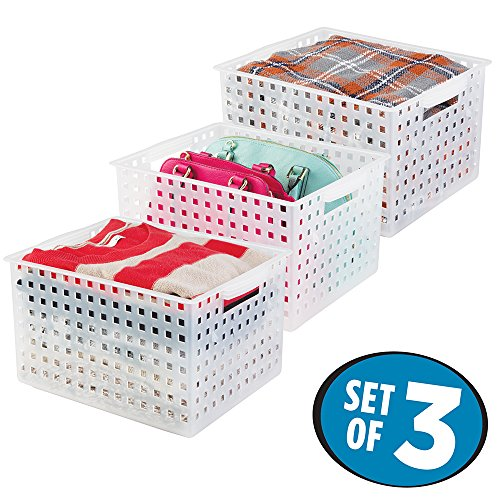 mDesign Closet Storage Organizer Baskets for Scarves, Sweaters, Purses, Blankets - Set of 3, Extra Large, Frost (Built In Dresser Closet)