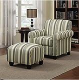 Portfolio Mira Coastal Living Room Upholstered Comfortable Blue Stripe Arm Chair and Ottoman