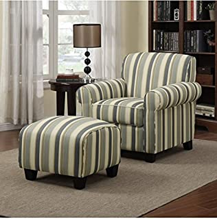 accent arm chair with ottoman. portfolio mira coastal living room upholstered comfortable blue stripe arm chair and ottoman accent with r