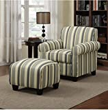 coastal living rooms Portfolio Mira Coastal Living Room Upholstered Comfortable Blue Stripe Arm Chair and Ottoman