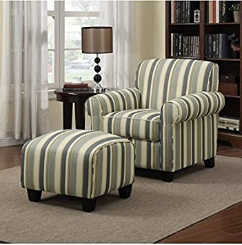Incroyable Portfolio Mira Coastal Living Room Upholstered Comfortable Blue Stripe Arm  Chair And Ottoman