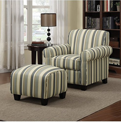 Portfolio Mira Coastal Living Room Upholstered Comfortable Blue Stripe Arm Chair and Ottoman