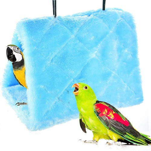 Winter Warm Bird Nest House Shed Hut Hanging Hammock Finch Cage Plush Fluffy Birds Hut Hideaway for Hamster Parrot Macaw Budgies Eclectus Parakeet Cockatiels Cockatoo Lovebird (L, Blue)