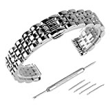 Beauty7 Black/Silver Tone Polished Stainless Steel Solid Link Watch Band Strap Kit Butterfly Buckle Clasp