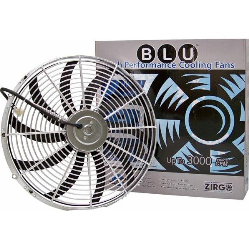 Zirgo 10214 Chrome 16 3000 fCFM High Performance Blu Cooling Fan