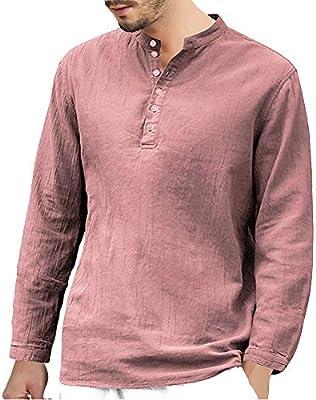 Men/'s Cotton Linen Long Sleeve Shirt Summer Cool Loose Casual V-Neck Shirts Tops